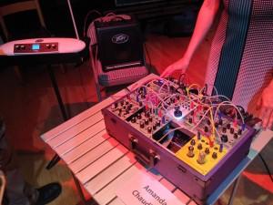 Amanda Chaudhary with analog modular and Moog Theremini