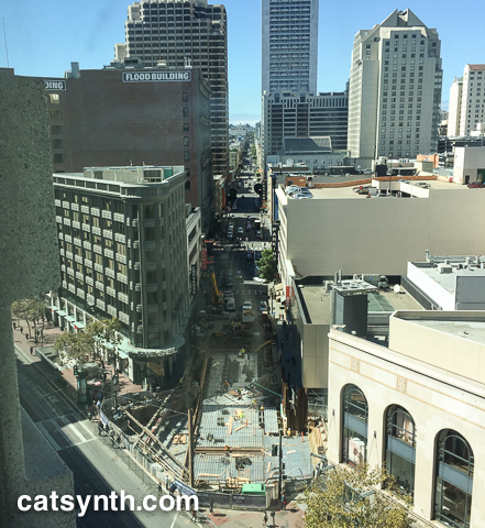 Ellis Street downtown view from building