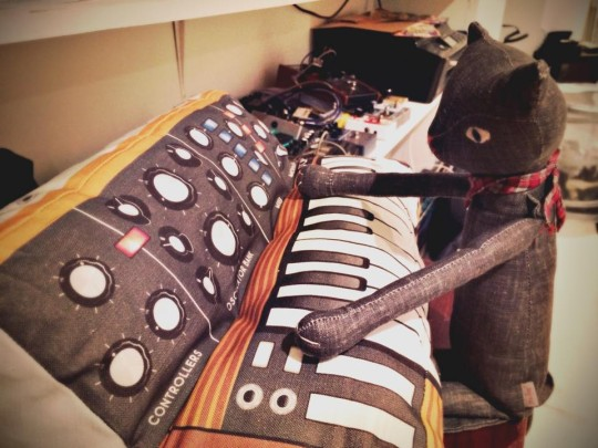 Plush cat and Minimoog