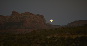 Moonrise at Zion National Park photographed by Deborah O'Grady. O'Grady and the St. Louis Symphony Orchestra, conducted by David Robertson, present a multimedia performance of Des canyons aux étoiles Sunday, January 31, 2016 in Zellerbach Hall.